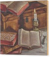 Still Life With Old Books Wood Print
