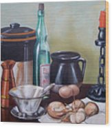 Still Life With Onions And Eggs Wood Print