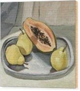 Still Life With Papaya Wood Print