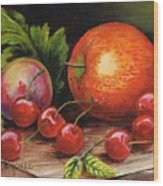 Still Life With Peaches And Cherries  Wood Print