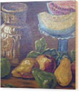 Still Life With Pears And Melons Wood Print