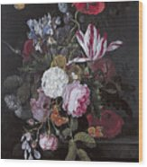 Still Life With Peonies Roses Irises Poppies And A Tulip With Butterflies A Dragonfly And Other Inse Wood Print