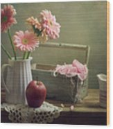 Still Life With Pink Gerberas And Red Apple Wood Print