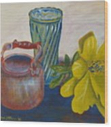 Still Life With Plastic Flower Wood Print