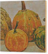 Still Life With Pumpkins Wood Print