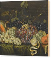 Still Life With Red Black And Green Grapes Wood Print