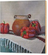 Still Life With Red Peppers Wood Print
