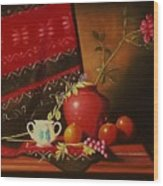 Still Life With Red Vase. Wood Print