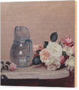 Still Life With Roses Wood Print by Ignace Henri Jean Fantin-Latour