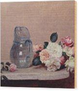 Still Life With Roses Wood Print by Ignace Henri Jean Fantin-Latour