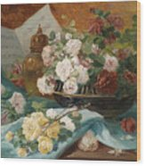 Still Life With Roses In A Cup Ornamental Object And Score Wood Print