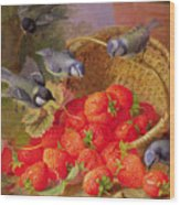 Still Life With Strawberries And Bluetits Wood Print