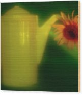 Still Life With Sunflower And Coffee Pot. Wood Print