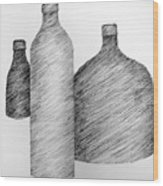 Still Life With Three Bottles Wood Print