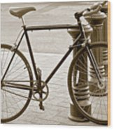 Still Life With Trek Bike In Sepia Wood Print