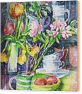 Still Life With Tulips And Apple Blossoms  Wood Print