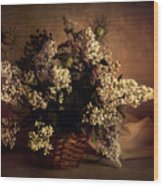 Still Life With White Flowers In The Basket Wood Print