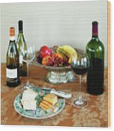 Still Life With Wine And Fruit Cheese Picture Interior Design Decor Wood Print by John Samsen