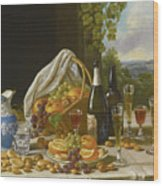Still Life With Wine And Fruit Wood Print
