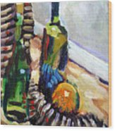 Still Life With Wine Bottles Wood Print by Piotr Antonow