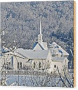 Still The Little White Church In Peoria Wood Print