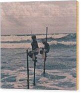 Stilt Fishermen Of Sri Lanka Wood Print