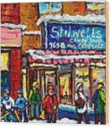 Stilwell's Candy Shop Montreal Memories Lasalle Verdun Winter City Scene Hockey Art Carole Spandau   Wood Print