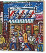 Stilwell's Candy Stop Winterscene Painting For Sale Montreal Hockey Art C Spandau Snowy Barber Shop Wood Print