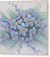 Stitched Forget-me-nots Wood Print