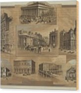 Stock Exchanges In New York, Paris Wood Print by Everett