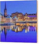 Stockholm Blue Hour Postcard Wood Print