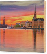 Stockholm Fiery Sunset Reflection Wood Print