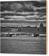 Stockholm In Black And White Wood Print