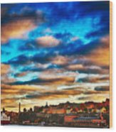 Stockholm In Bold Colors Wood Print