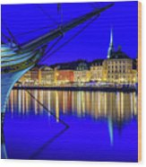 Stockholm Old City Blue Hour Serenity Wood Print