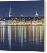 Stockholm Old City Magic Quartet Reflection In The Baltic Sea Wood Print