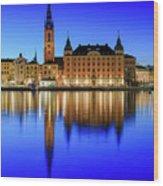 Stockholm Riddarholmen Blue Hour Reflection Wood Print