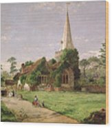 Stoke Poges Church Wood Print by Jasper Francis Cropsey