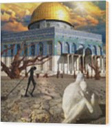 Stolen Light-dome Of The Rock Temple Mount Wood Print