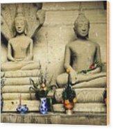 Stone And Flowers - Buddhist Shrine Wood Print