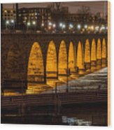 Stone Arch Bridge Night Shot Wood Print