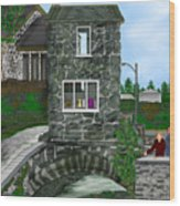 Stone Bridge House In The Uk Wood Print