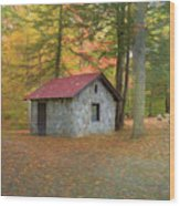 Stone Building In Autumn Wood Print