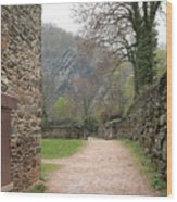Stone Building Wall And Fence Wood Print
