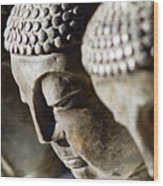 Stone Carved Buddha Faces Wood Print