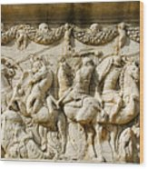 Stone Carving On Mausoleum Of The Julii Wood Print