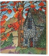 Stone Cottage Silk Painting Wood Print