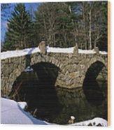 Stone Double Arched Bridge - Hillsborough New Hampshire Usa Wood Print