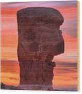 Stone Face Sunset Wood Print