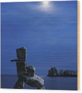 Stone Figure In Moonlight Wood Print